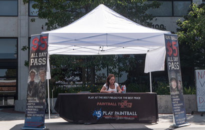 Paintball tickets for sale on San Luis Obispo campus