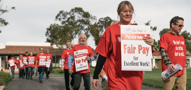 Cuesta faculty members protest low pay on first day of spring semester