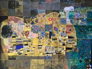 Collage on display in Cuesta art gallery.