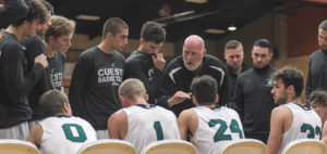 Coach Rusty Blair encouraging his players, helping them with a comeback win.